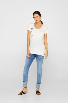 Stretch top with a subtle shiny print, LCOFF WHITE, detail