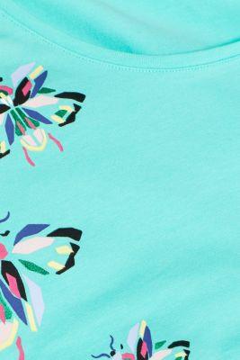 Stretch top with a subtle shiny print, LIGHT AQUA GRE, detail