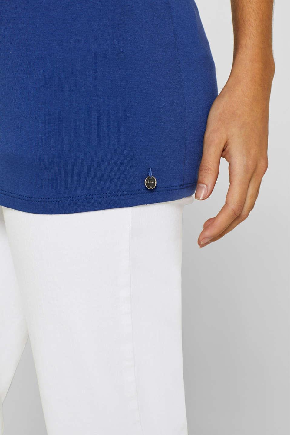Layered-effect stretch nursing top, LCDARK BLUE, detail image number 5
