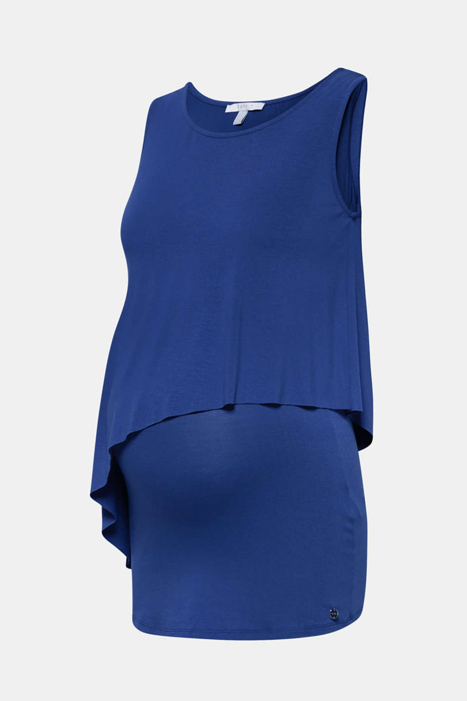 Layered-effect stretch nursing top, LCDARK BLUE, detail image number 7