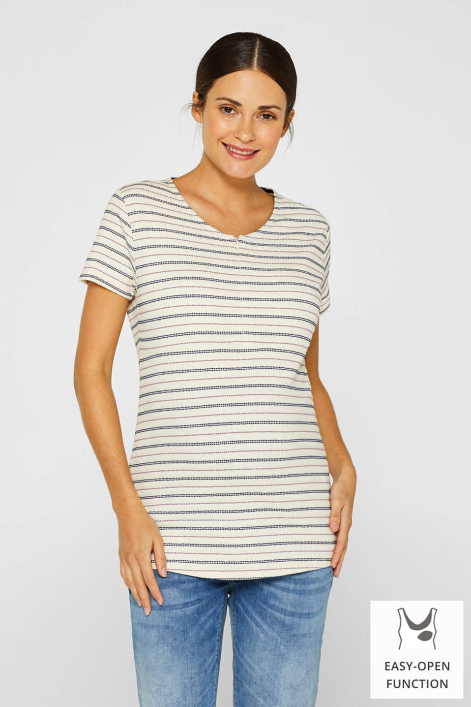 Textured nursing top with stripes, LCOFF WHITE, detail image number 0