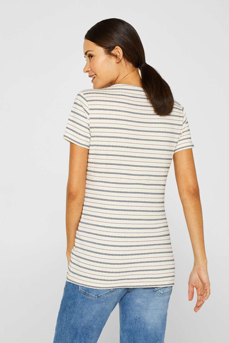 Textured nursing top with stripes, LCOFF WHITE, detail image number 3