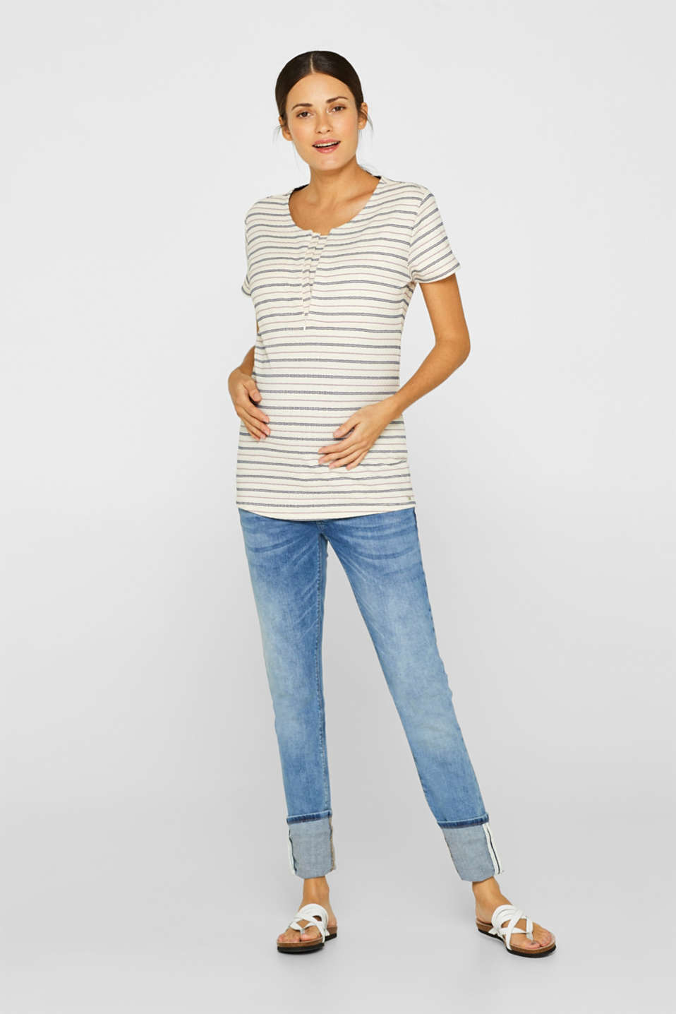 Textured nursing top with stripes, LCOFF WHITE, detail image number 1