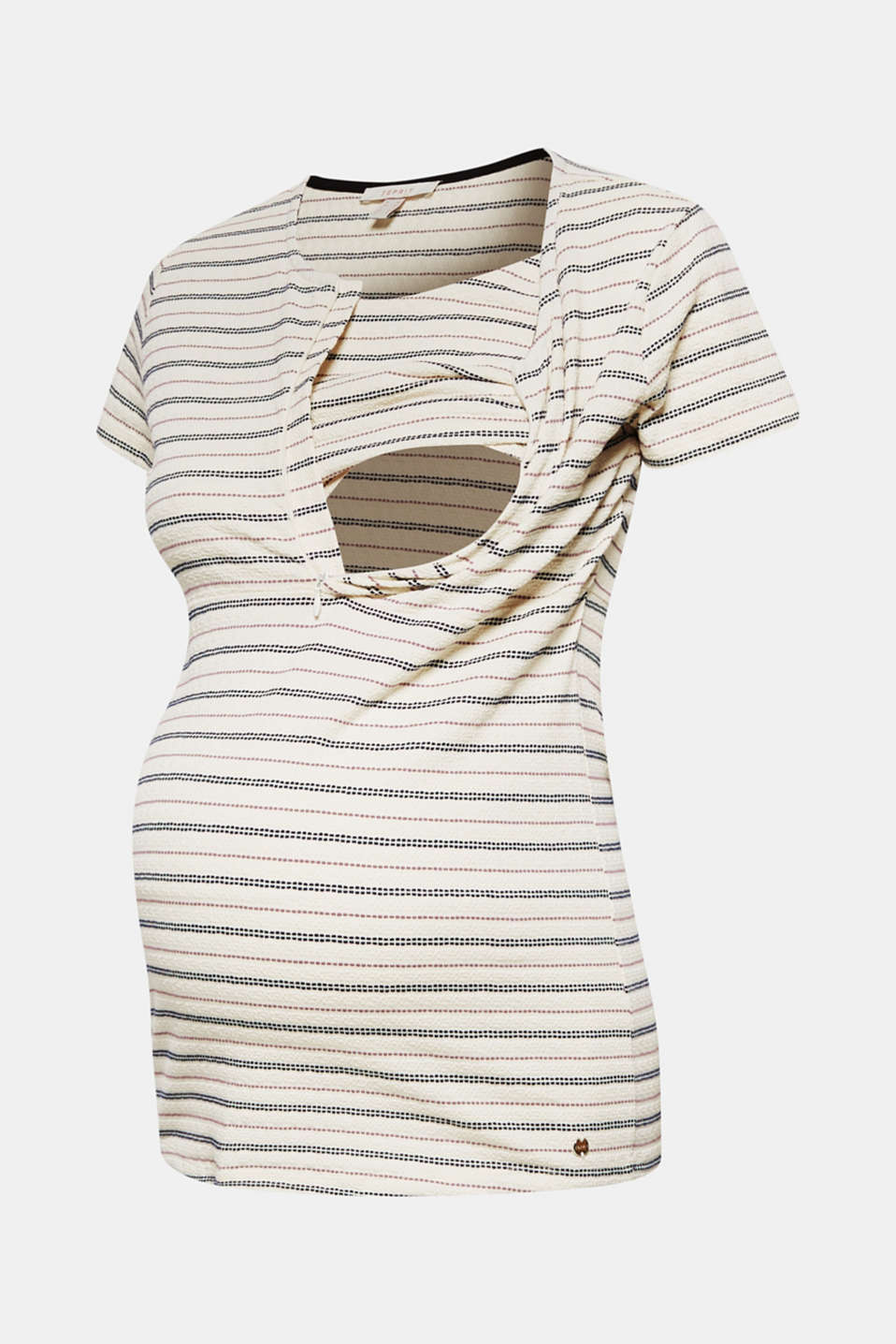 Textured nursing top with stripes, LCOFF WHITE, detail image number 7
