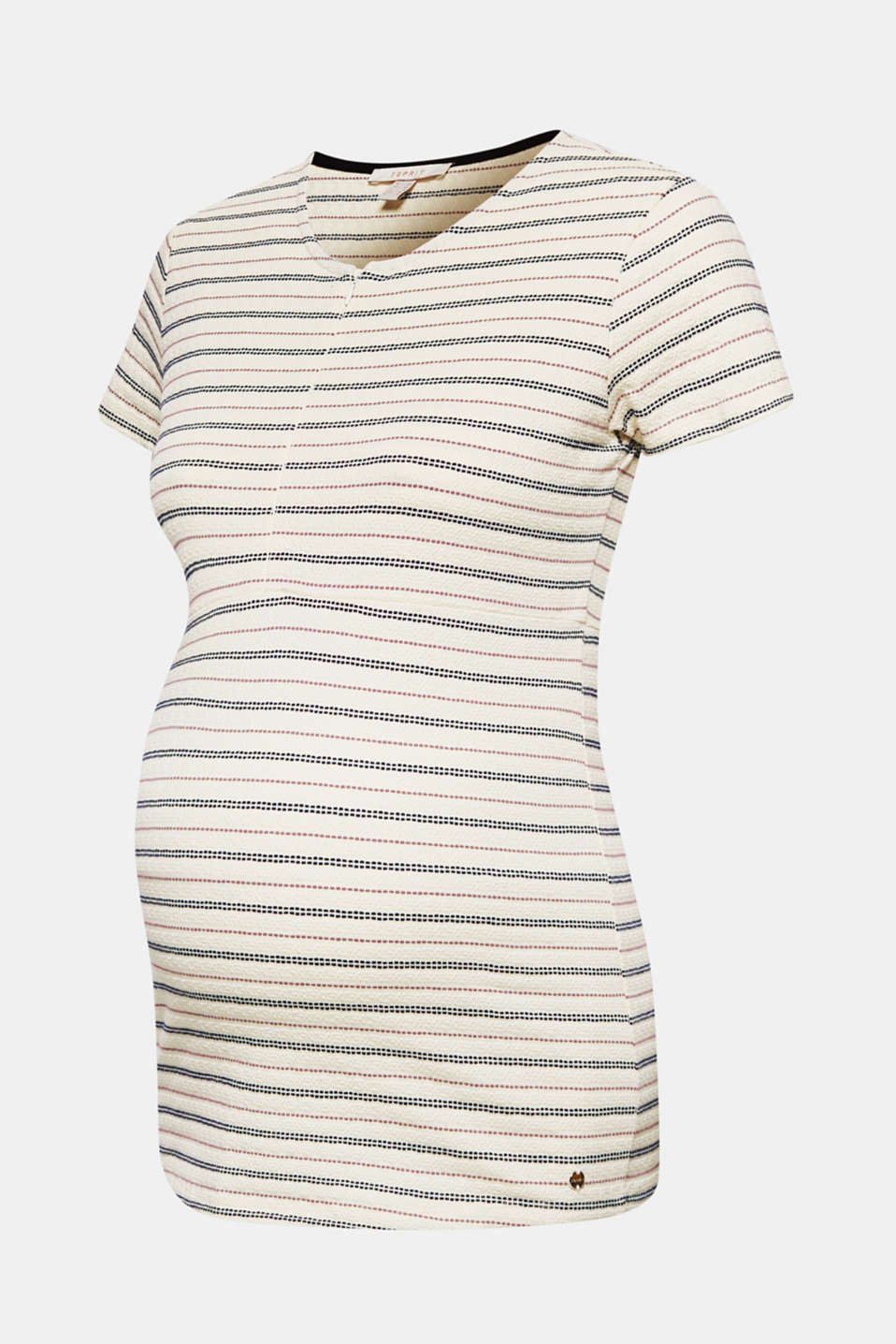 Textured nursing top with stripes, LCOFF WHITE, detail image number 8
