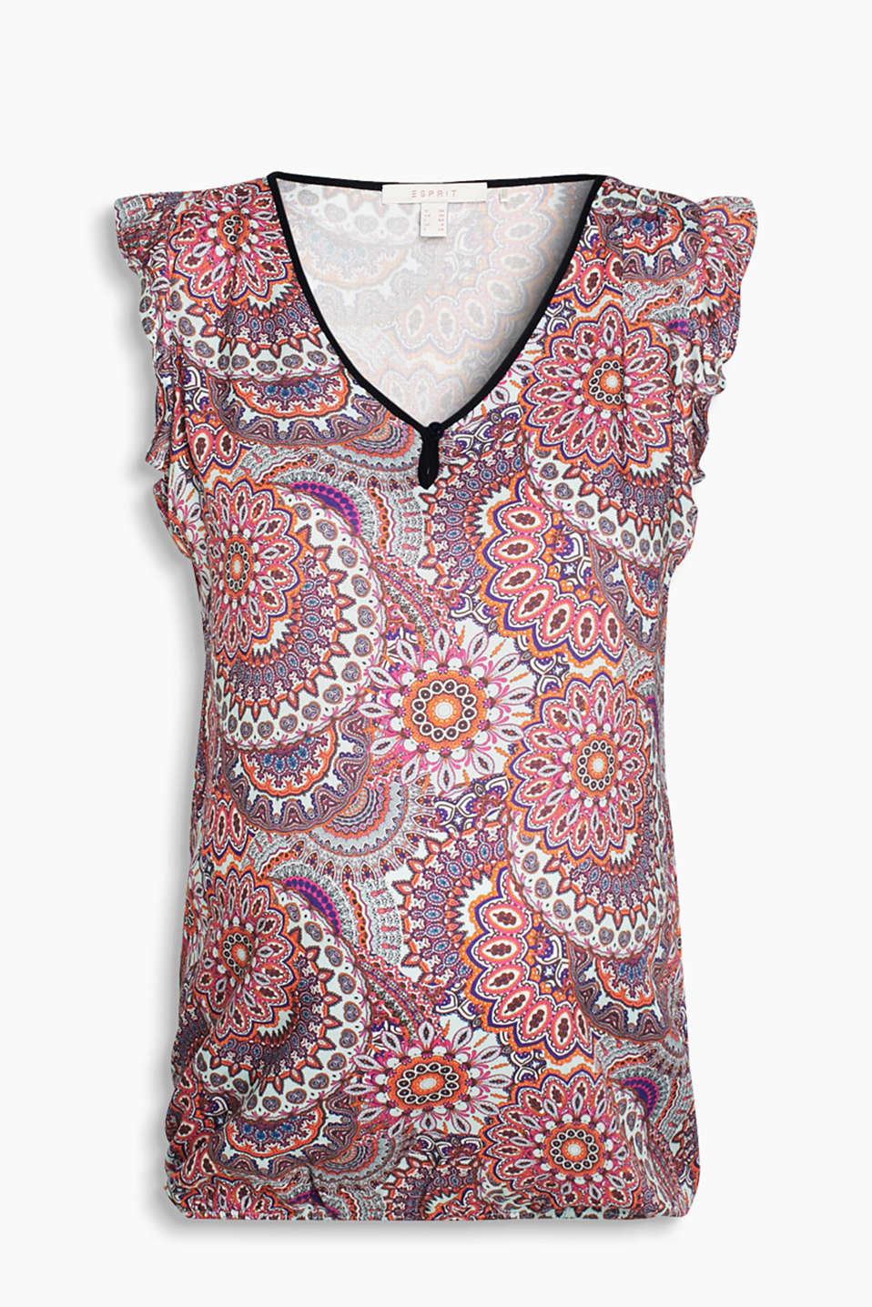 Floaty blouse top with an Oriental pattern, accentuated neckline and narrow, elasticated hem border
