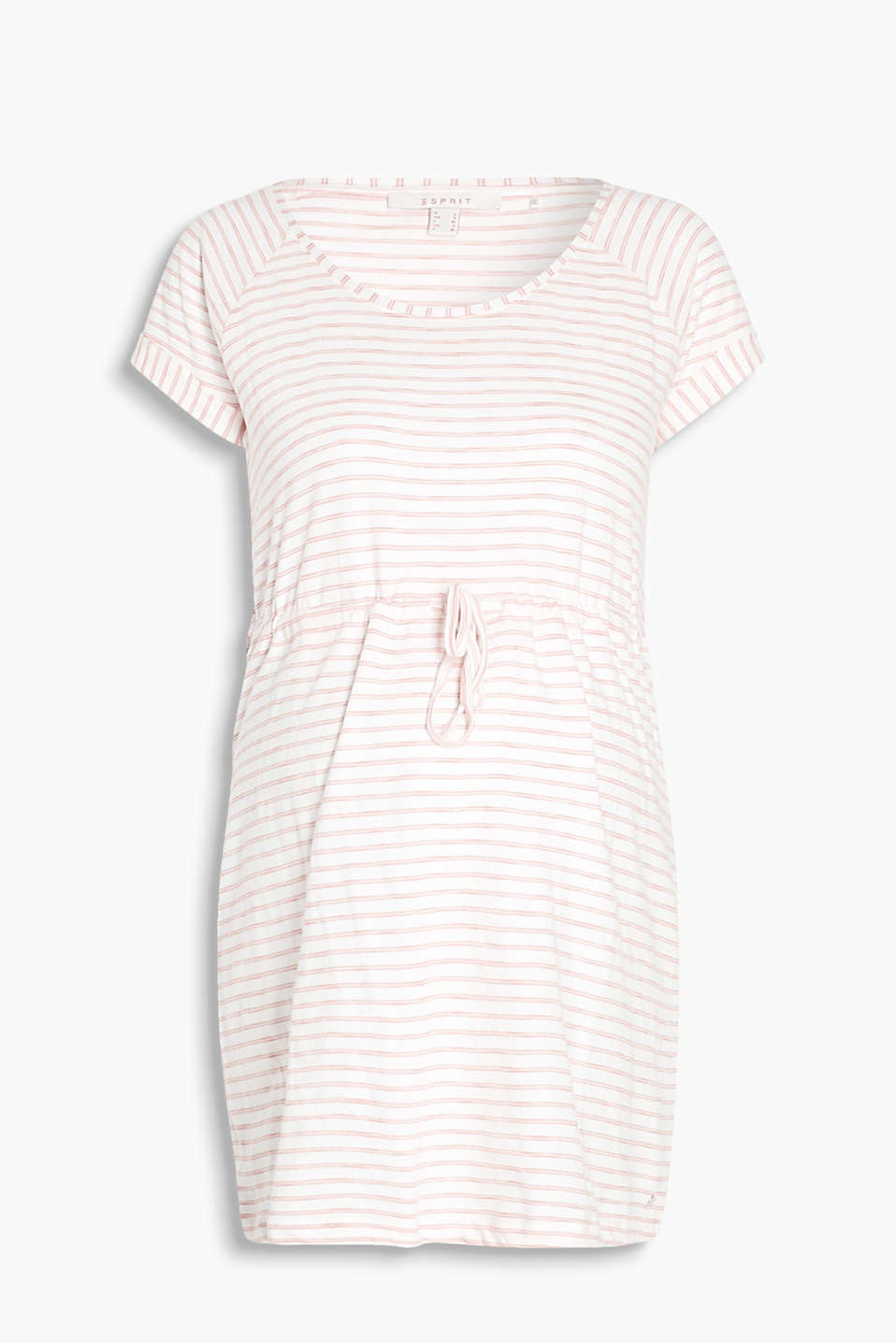 Versatile soft jersey tunic top with a drawstring waist