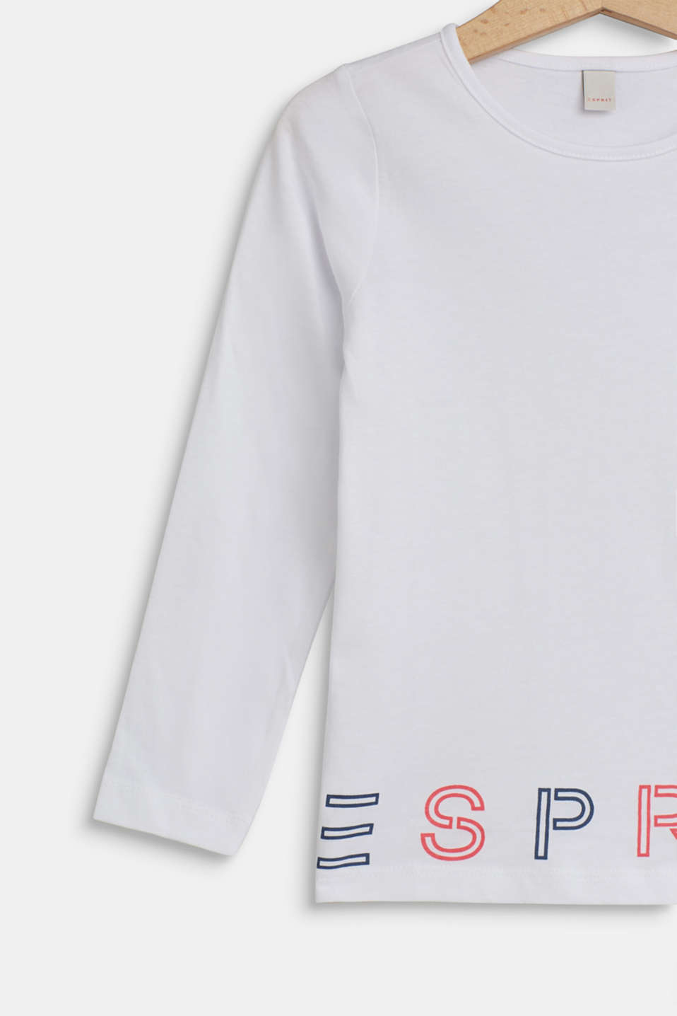 Long sleeve top with logo print, 100% cotton, WHITE, detail image number 2