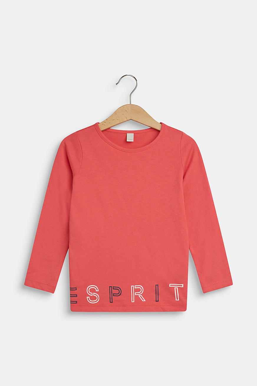 Long sleeve top with logo print, 100% cotton