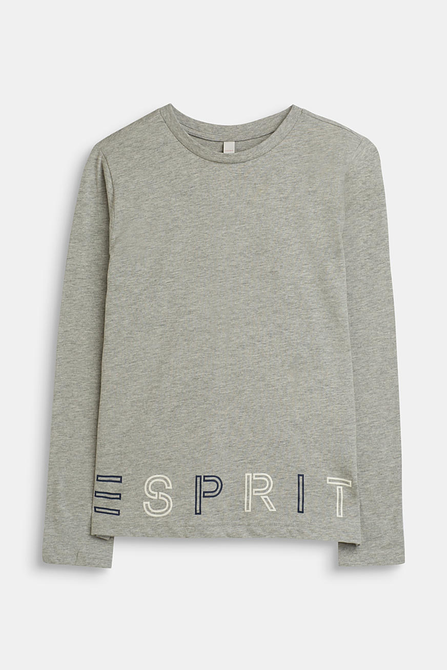Long sleeve logo print top in jersey