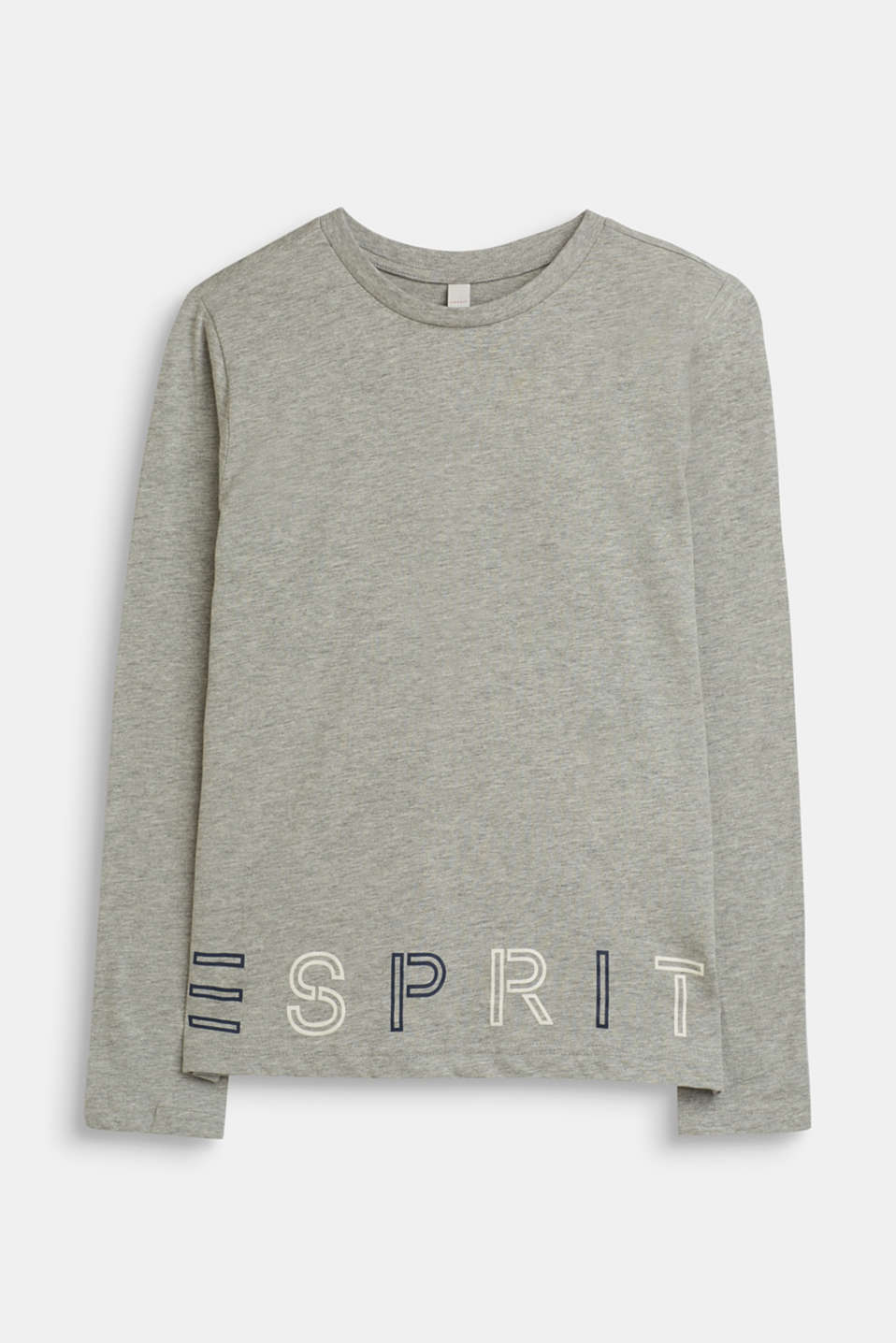 Long sleeve logo print top in jersey, LCMID HEATHER GR, detail image number 0