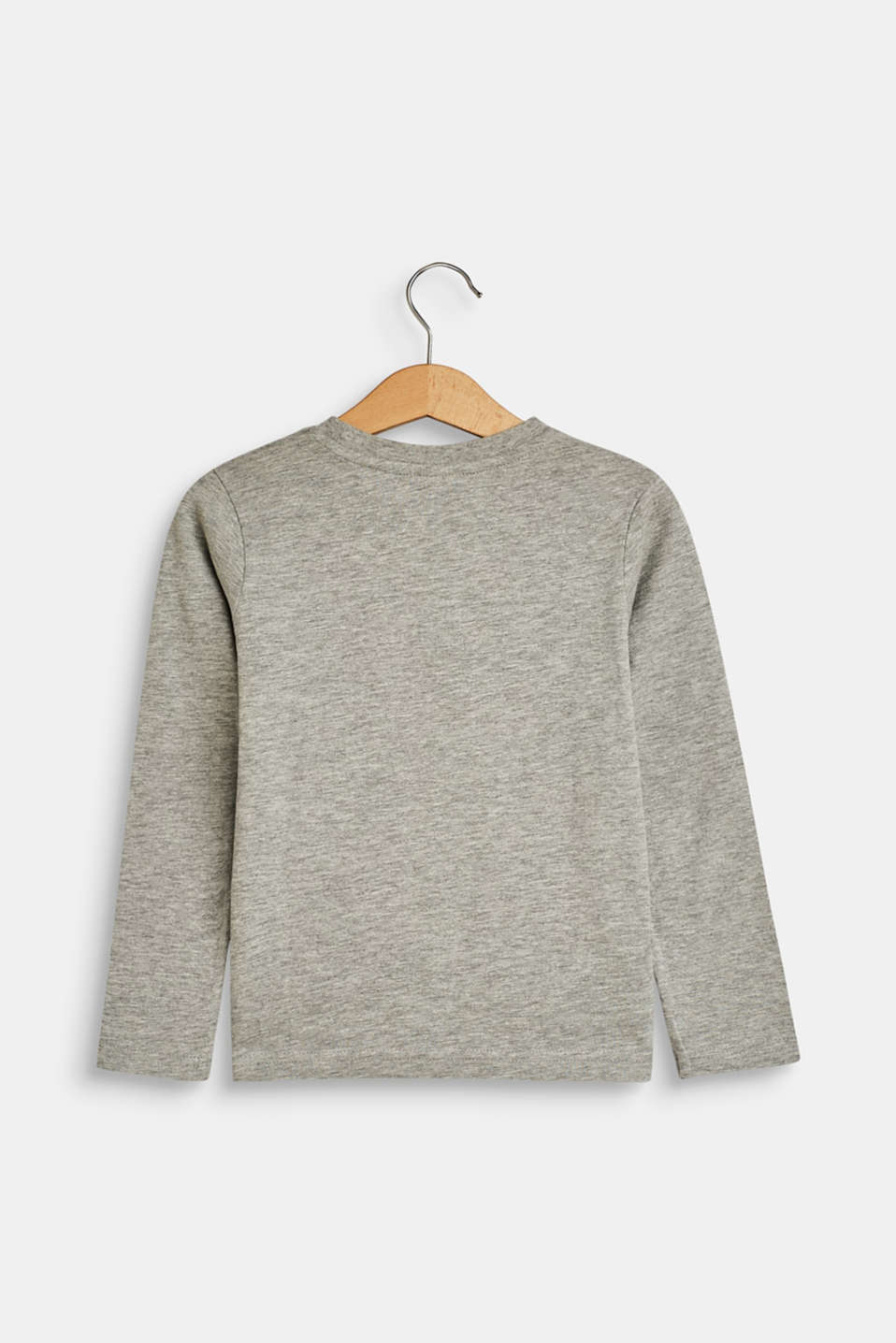 Long sleeve top with a logo print, MID HEATHER GR, detail image number 1