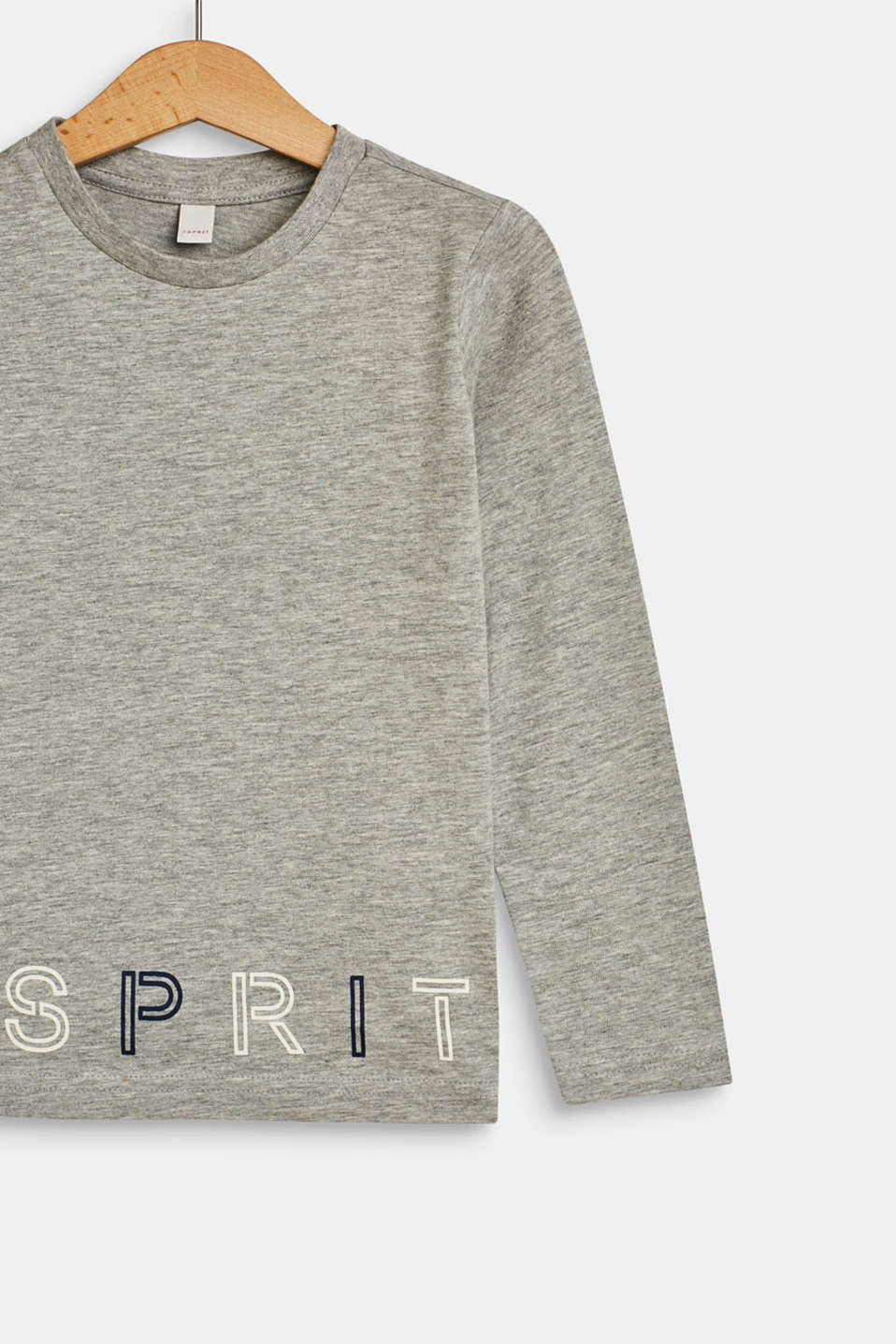 Long sleeve top with a logo print, MID HEATHER GR, detail image number 2