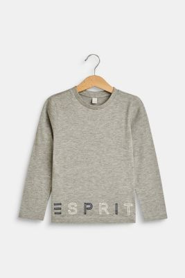 Long sleeve top with a logo print, MID HEATHER GR, detail