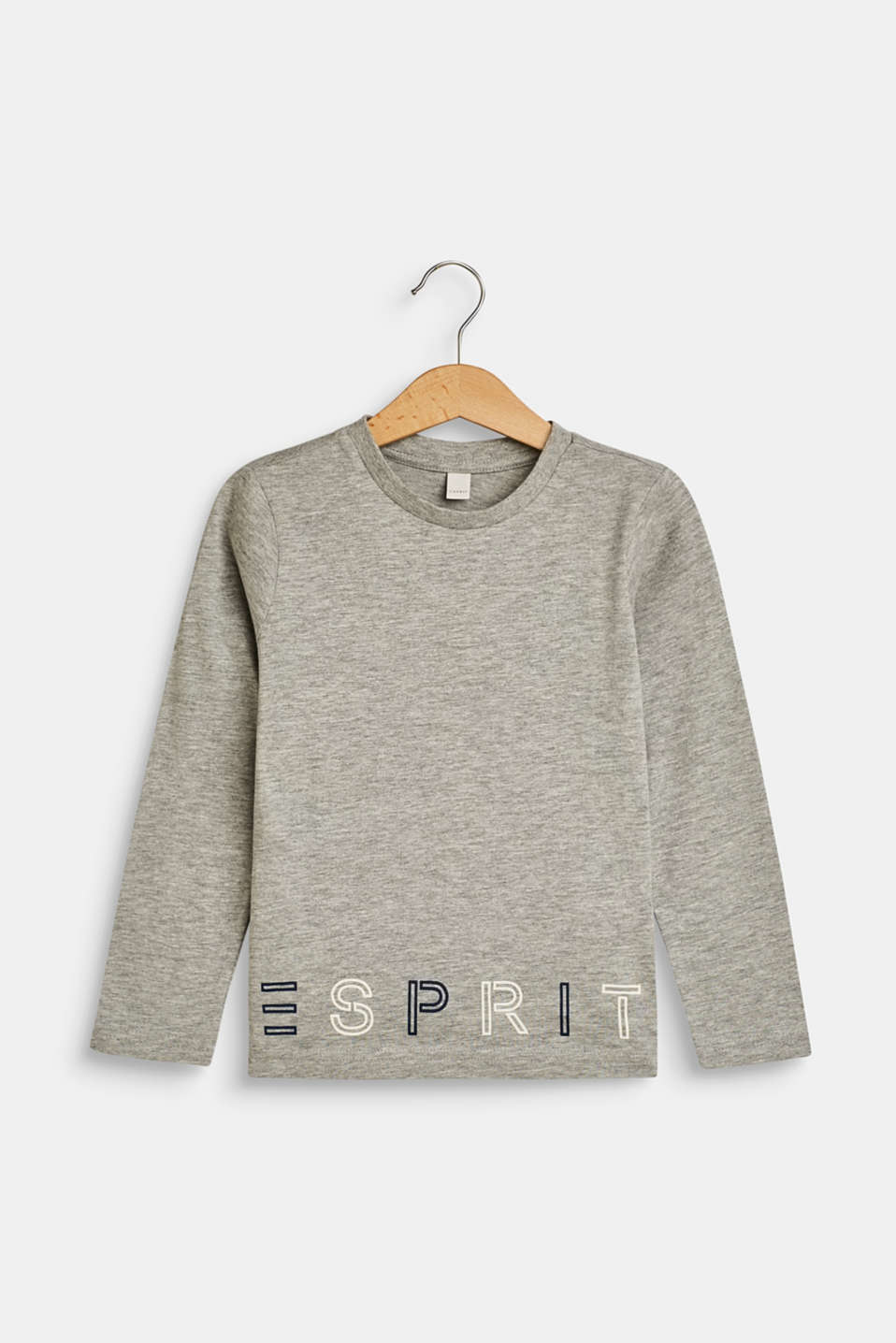 Long sleeve top with a logo print, MID HEATHER GR, detail image number 0