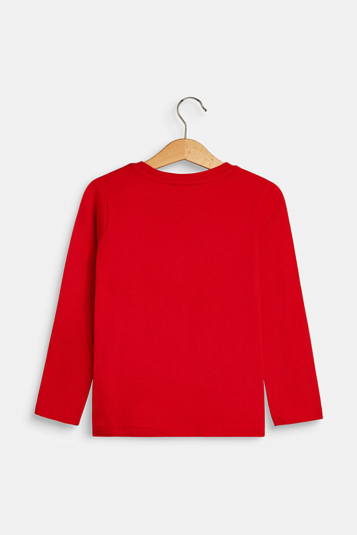 Long sleeve top with a logo print, RED, detail image number 1