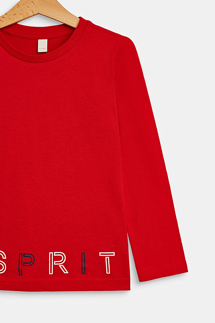 Long sleeve top with a logo print, RED, detail image number 2