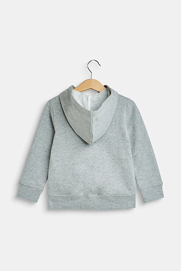 Sweatshirt cardigan with a hood and logo print, MID HEATHER GREY, detail image number 1