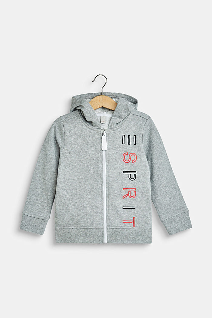 Sweatshirt cardigan with a hood and logo print, MID HEATHER GREY, detail image number 0