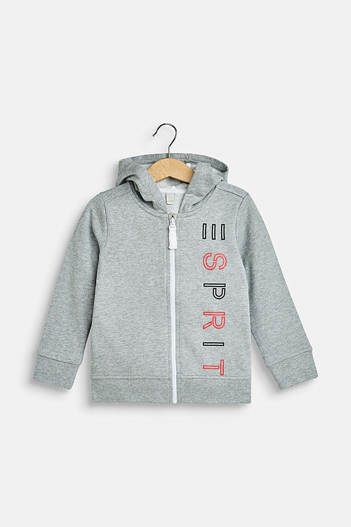 Sweat-Cardigan mit Kapuze und Logo-Print