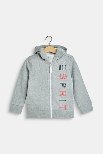 Sweatshirt cardigan with a hood and logo print