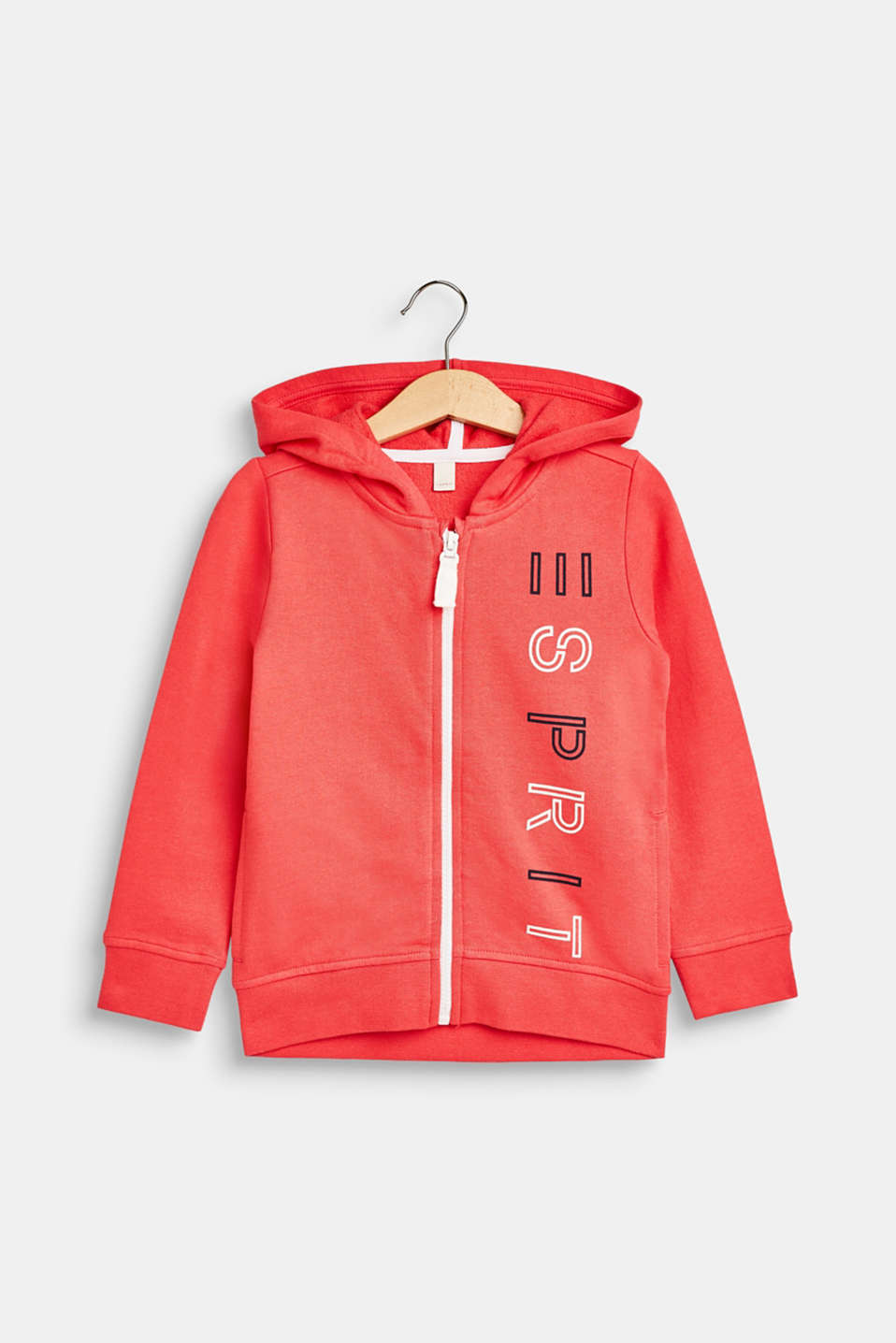 Esprit - Sweatshirt cardigan with a hood and logo print