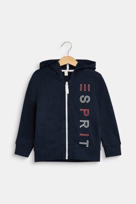 Sweatshirt cardigan with a hood and logo print, LCNAVY, detail