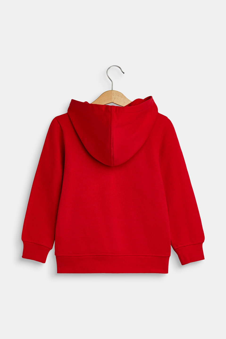 Sweatshirt fabric cardigan with a logo print, RED, detail image number 1