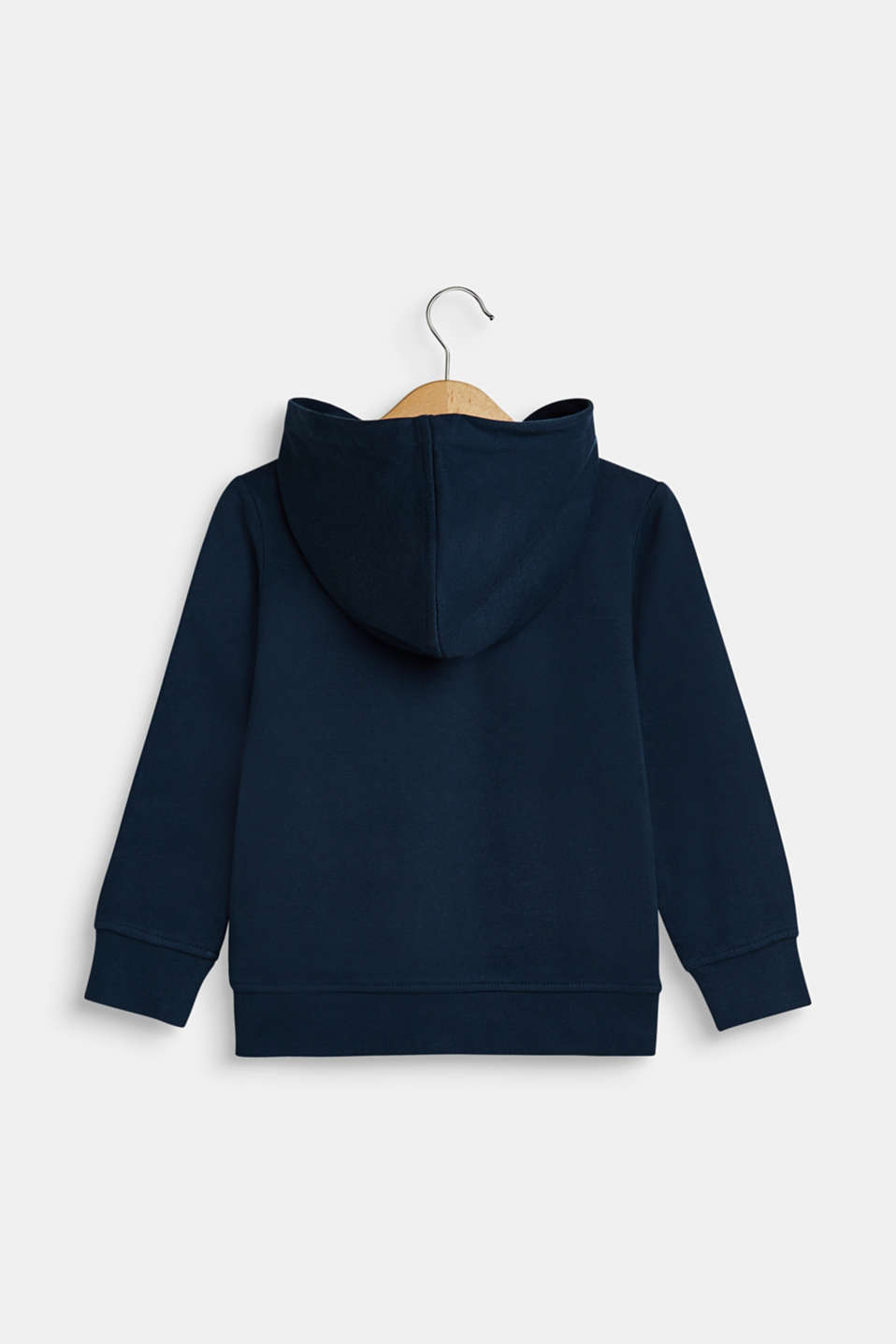 Sweatshirt fabric cardigan with a logo print, NAVY, detail image number 1