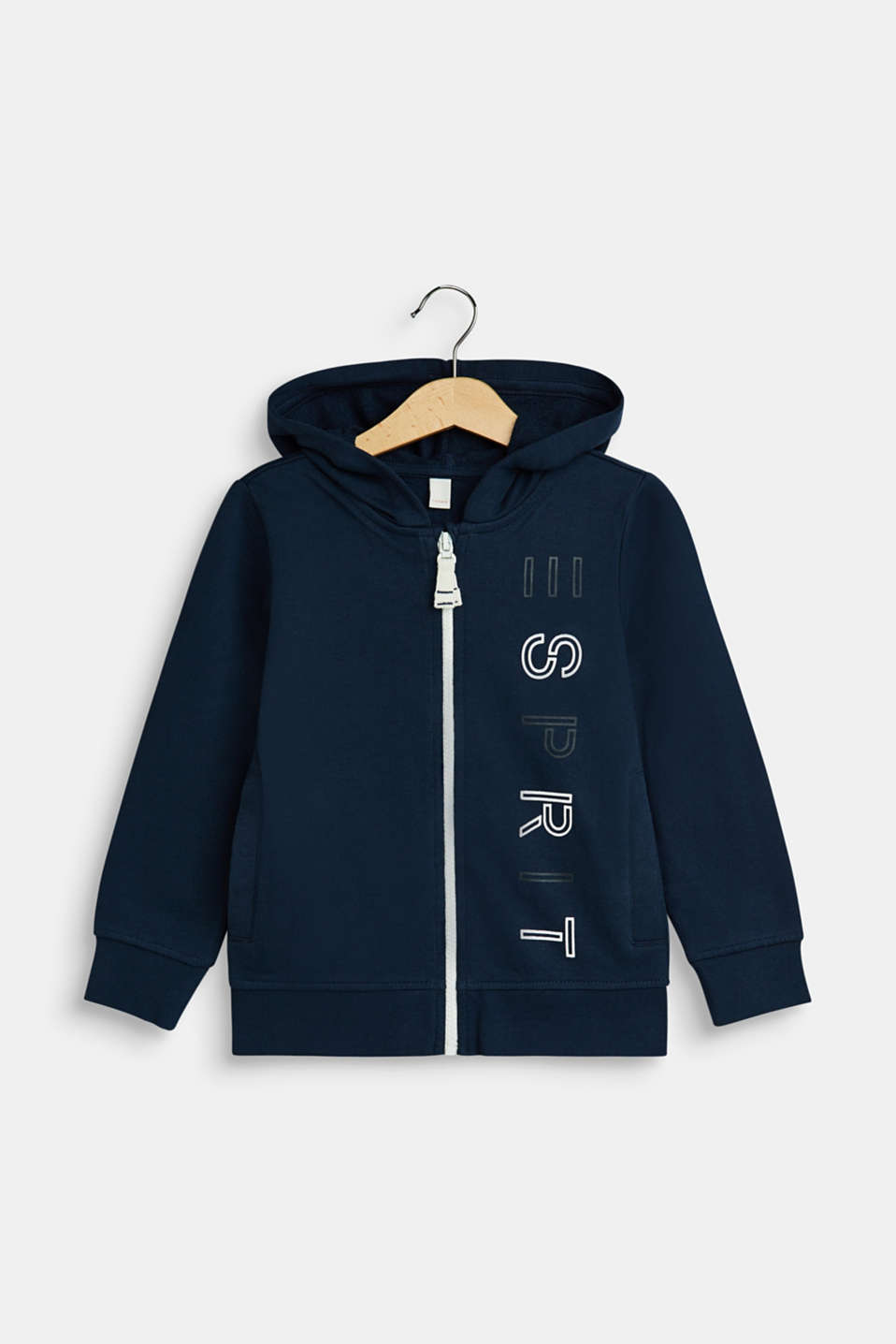Sweatshirt fabric cardigan with a logo print, NAVY, detail image number 0