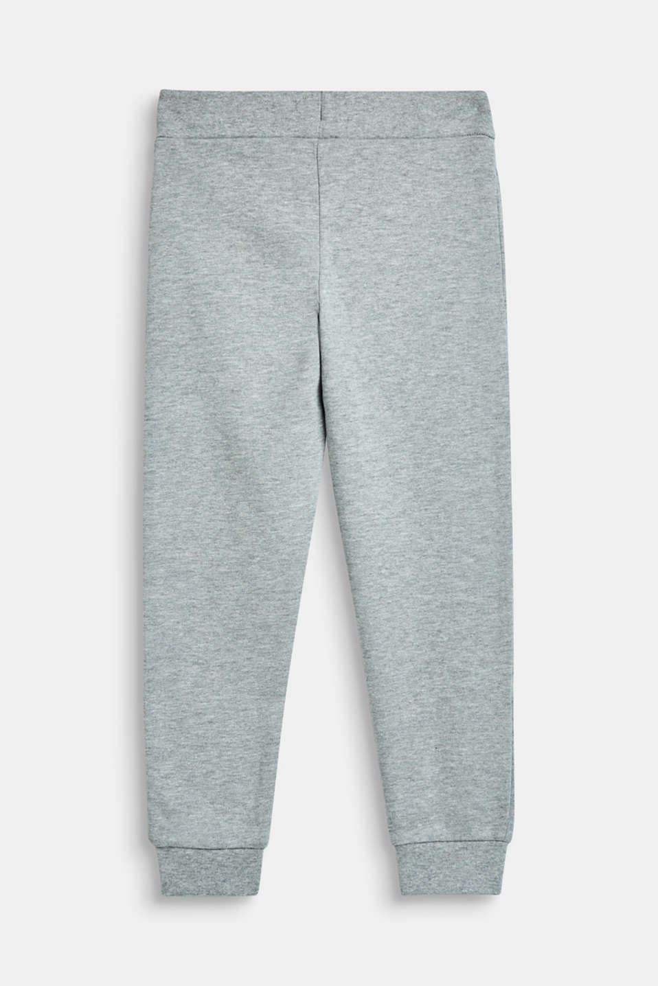 Sweatshirt tracksuit bottoms with a logo print, 100% cotton, MID HEATHER GR, detail image number 1
