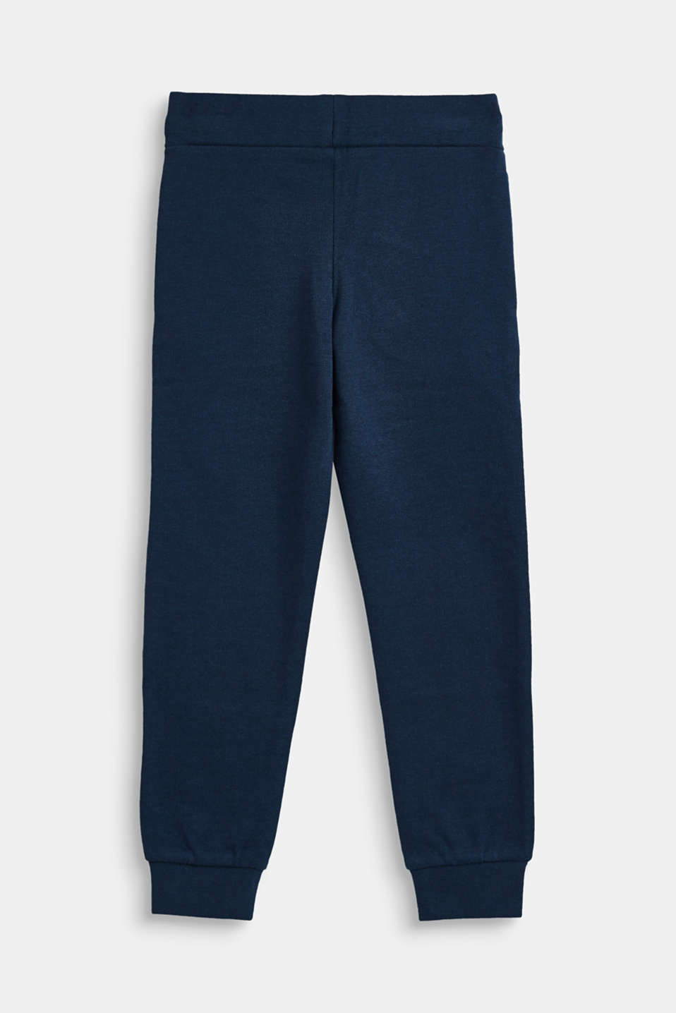 Sweatshirt tracksuit bottoms with a logo print, 100% cotton, NAVY, detail image number 1