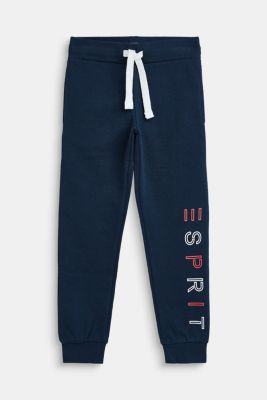 Sweatshirt tracksuit bottoms with a logo print, 100% cotton, NAVY, detail