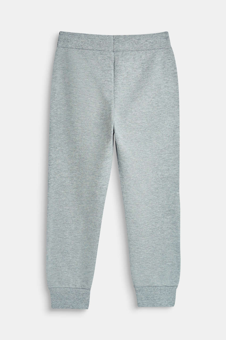 Tracksuit bottoms with a logo print, 100% cotton, MID HEATHER GR, detail image number 1