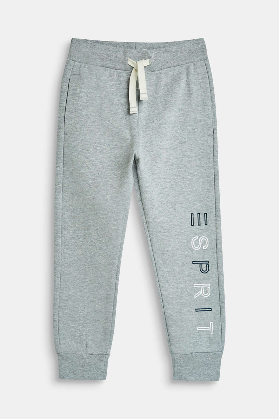 Tracksuit bottoms with a logo print, 100% cotton, MID HEATHER GR, detail image number 0