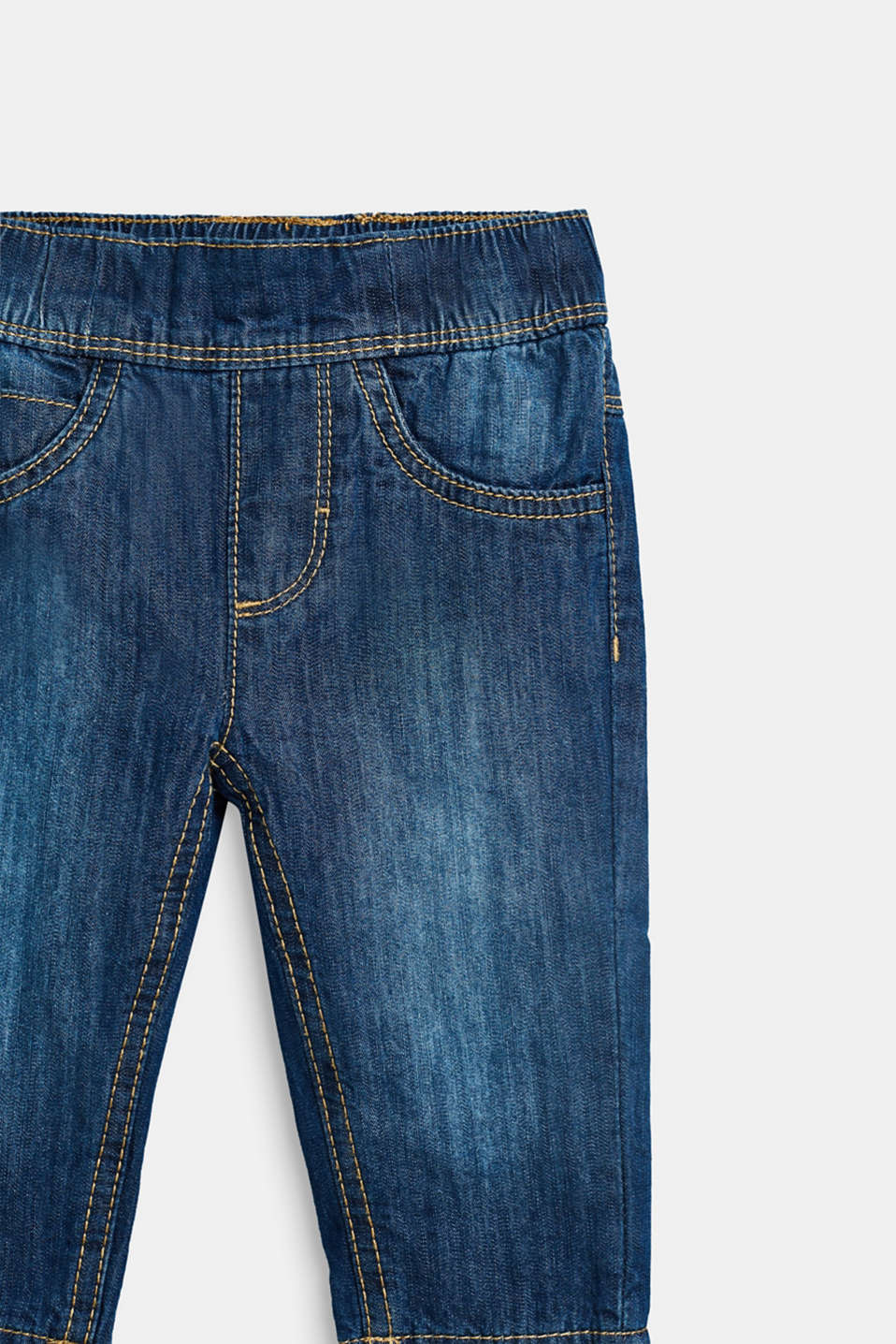 Soft cotton jeans with jersey lining, LCMEDIUM WASH DE, detail image number 2