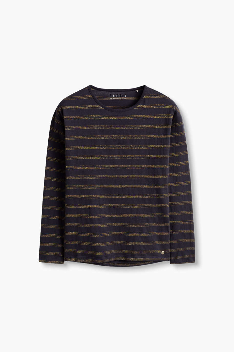 Cotton-jersey long sleeve top with a glittering stripe pattern