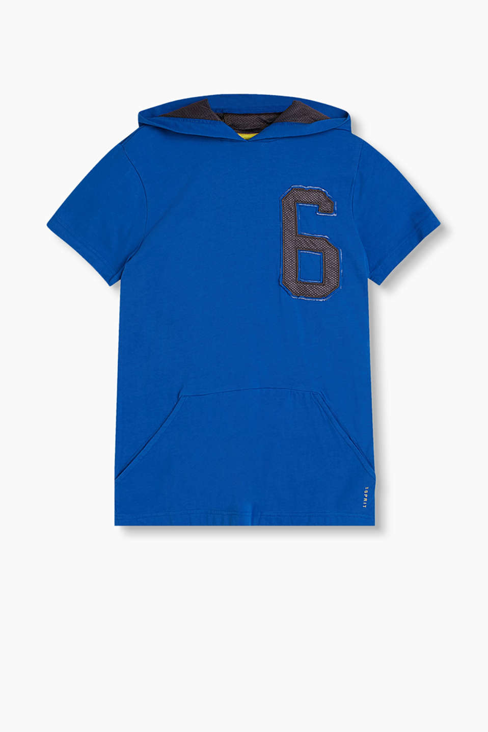Hooded T-shirt in soft cotton jersey with a hood lining and number appliqué made of mesh