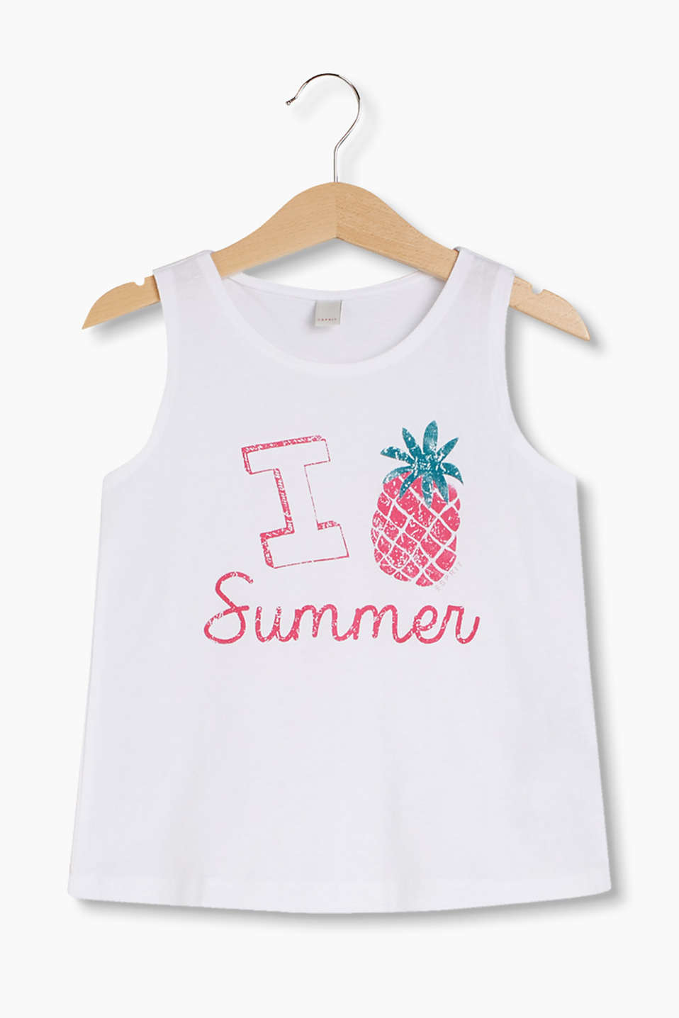 With an I LOVE SUMMER print: vest top made of soft cotton-jersey