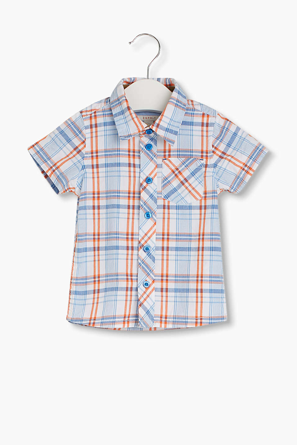 Check short sleeve shirt in a crinkle look, 100% cotton
