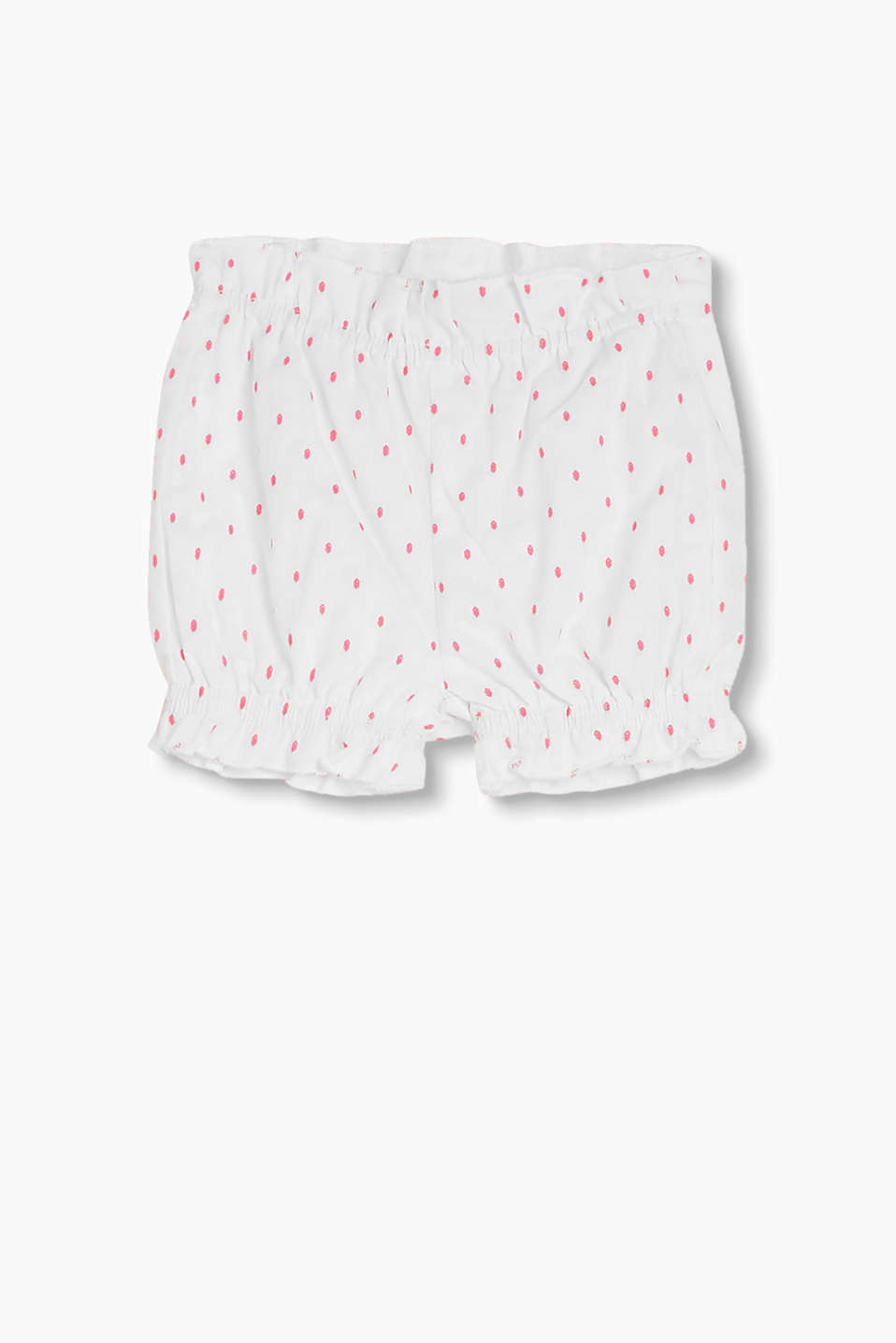 Lightweight shorts with woven polka dots and frills