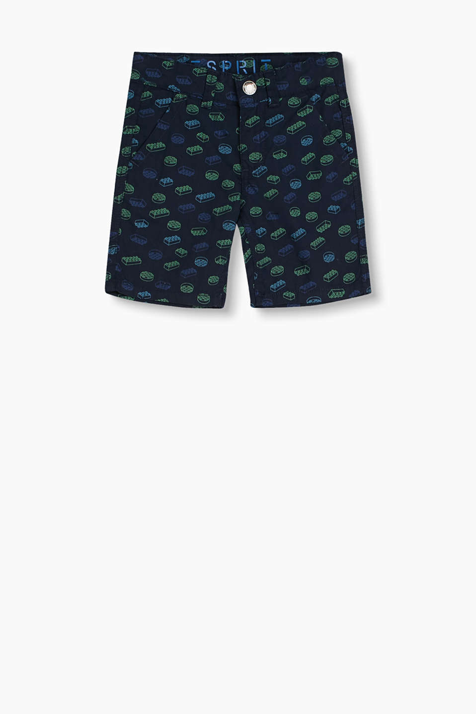 Cotton shorts with a lego print and practical, adjustable waistband