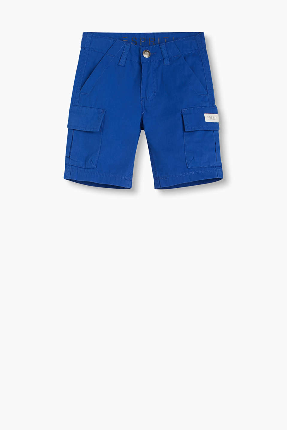 Casual shorts with cool cargo pockets and an adjustable waistband, 100% cotton