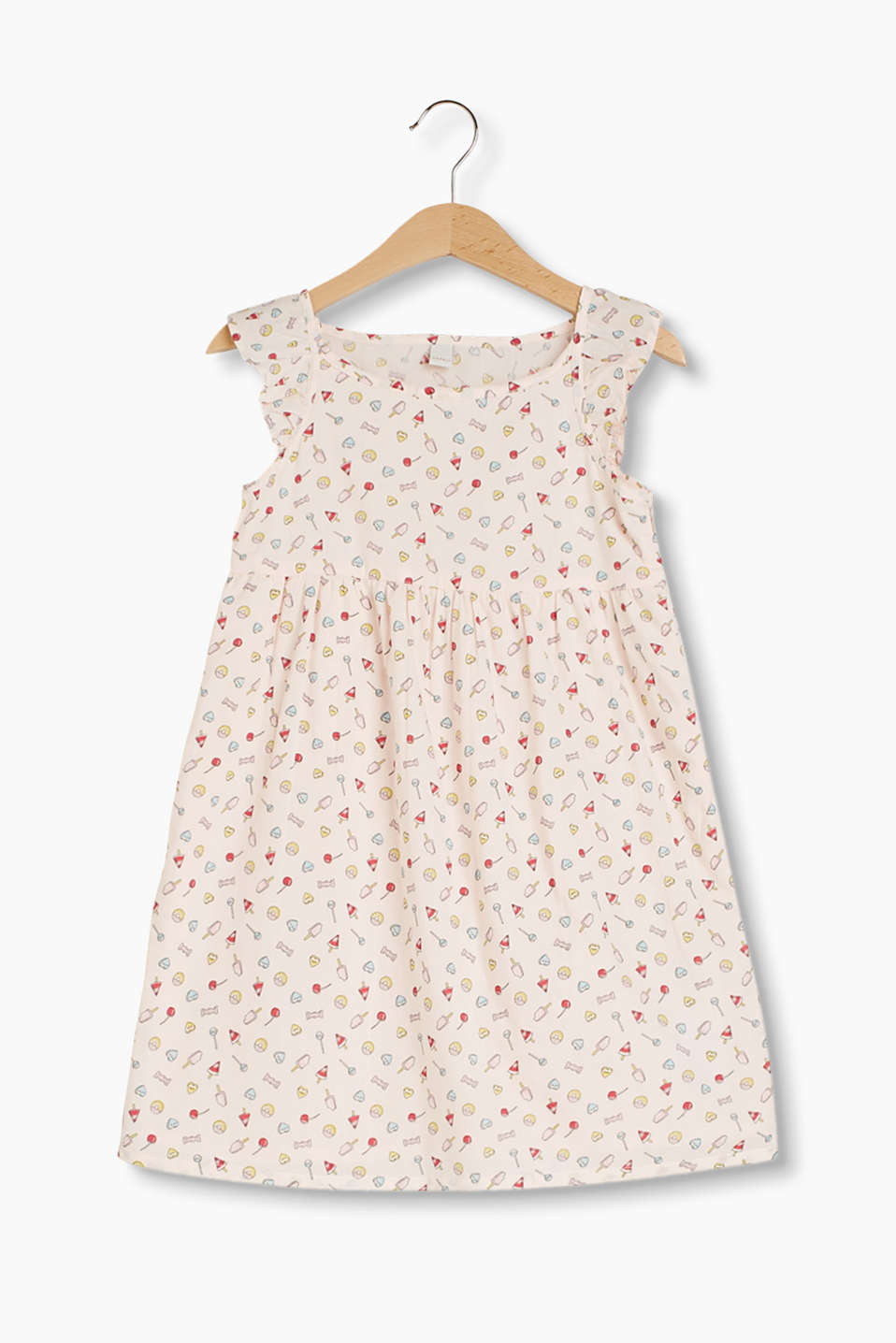 Airy poplin dress with a colourful candy print and wing sleeves
