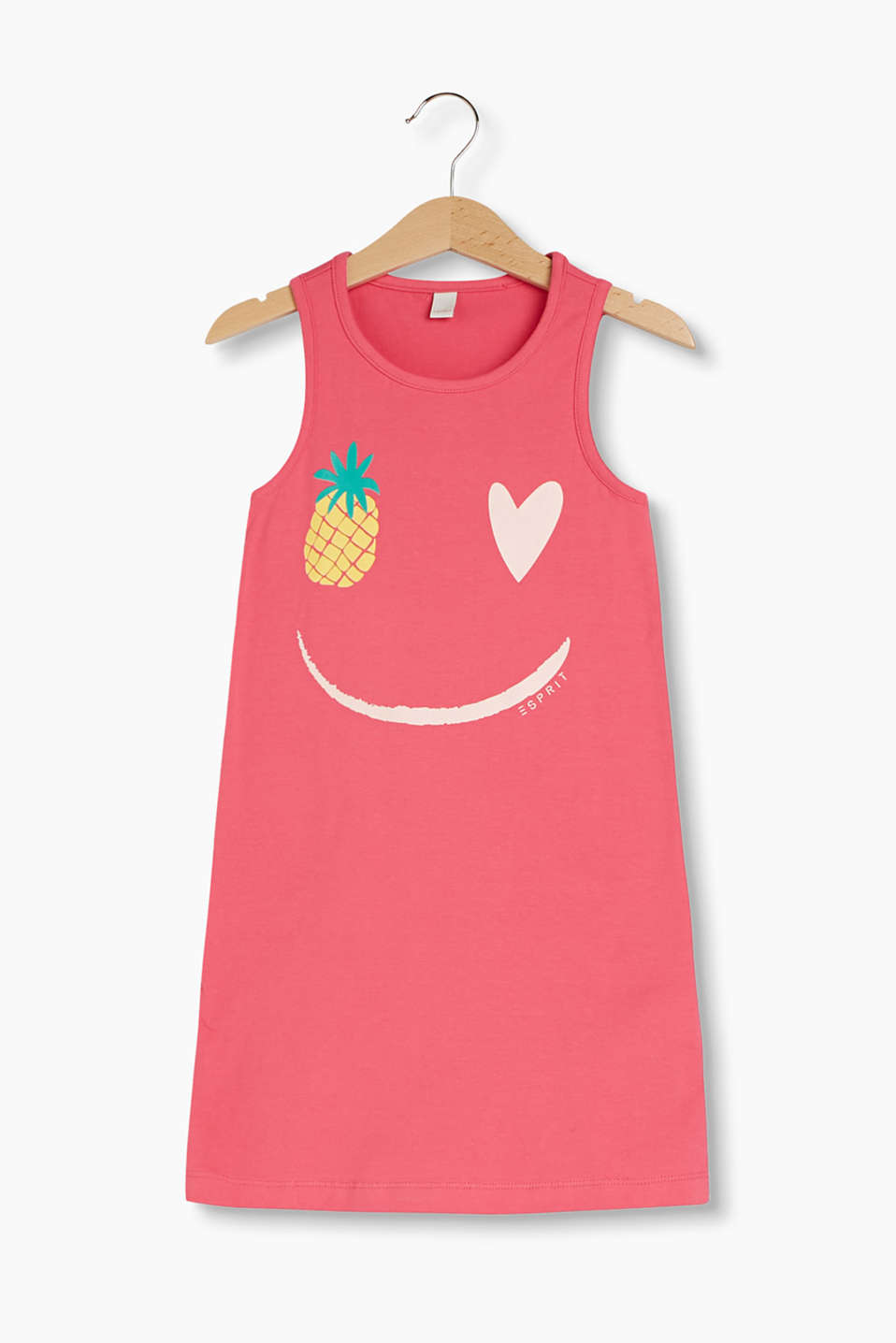 With a smiley face: jersey dress in a tank top style