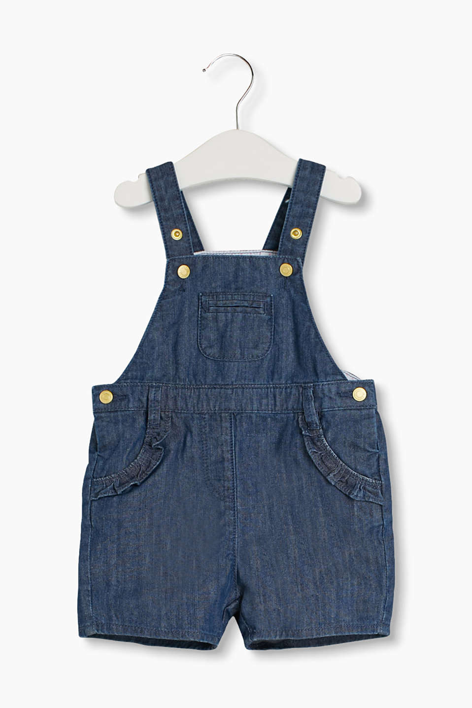Short denim dungarees with sweet frilly details and a practical adjustable waistband