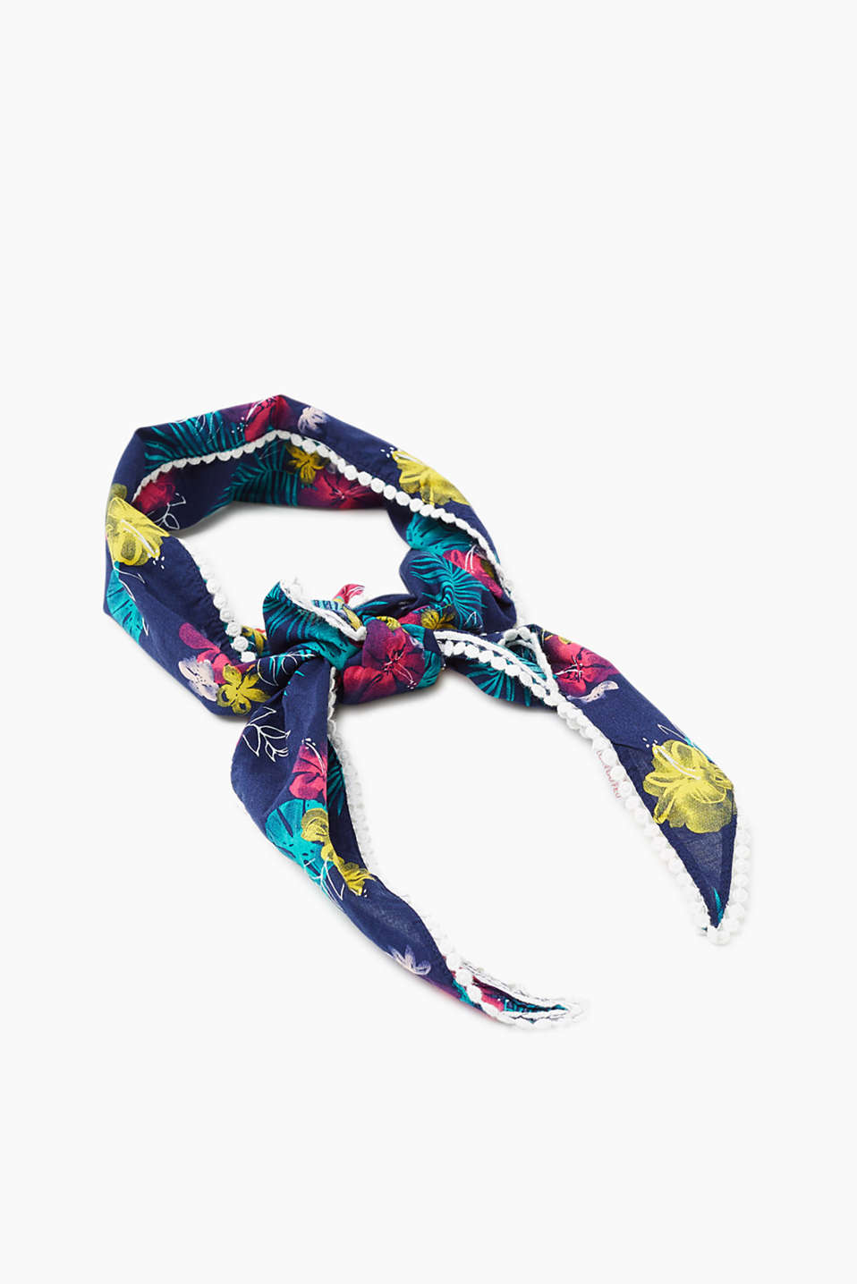 Esprit - Triangular print scarf, 100% cotton