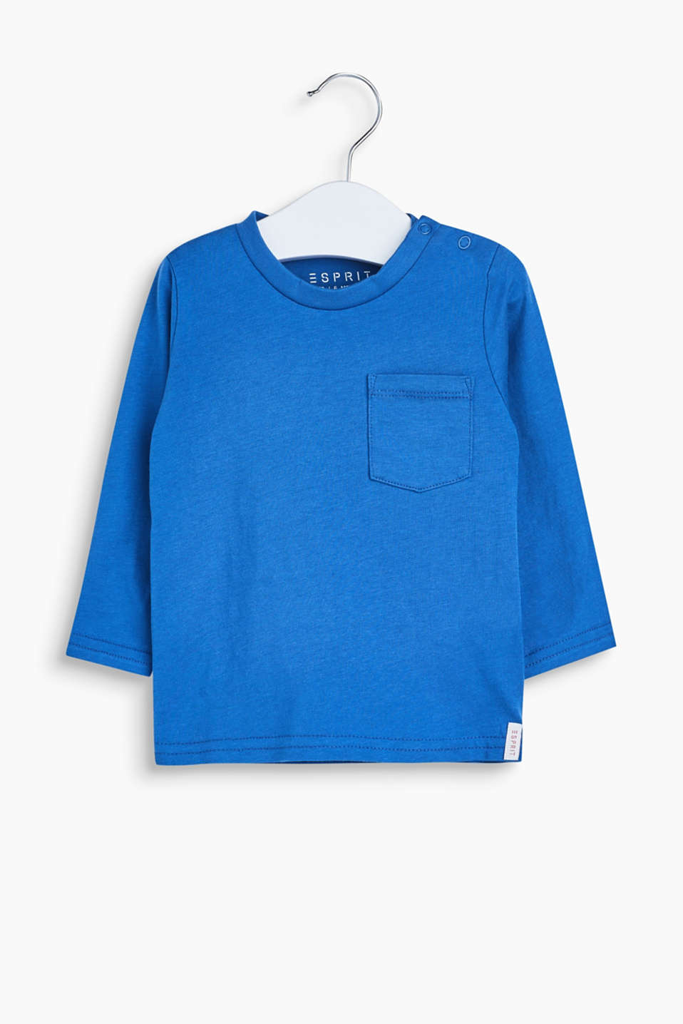 Made of soft melange jersey: long sleeve top with a breast pocket