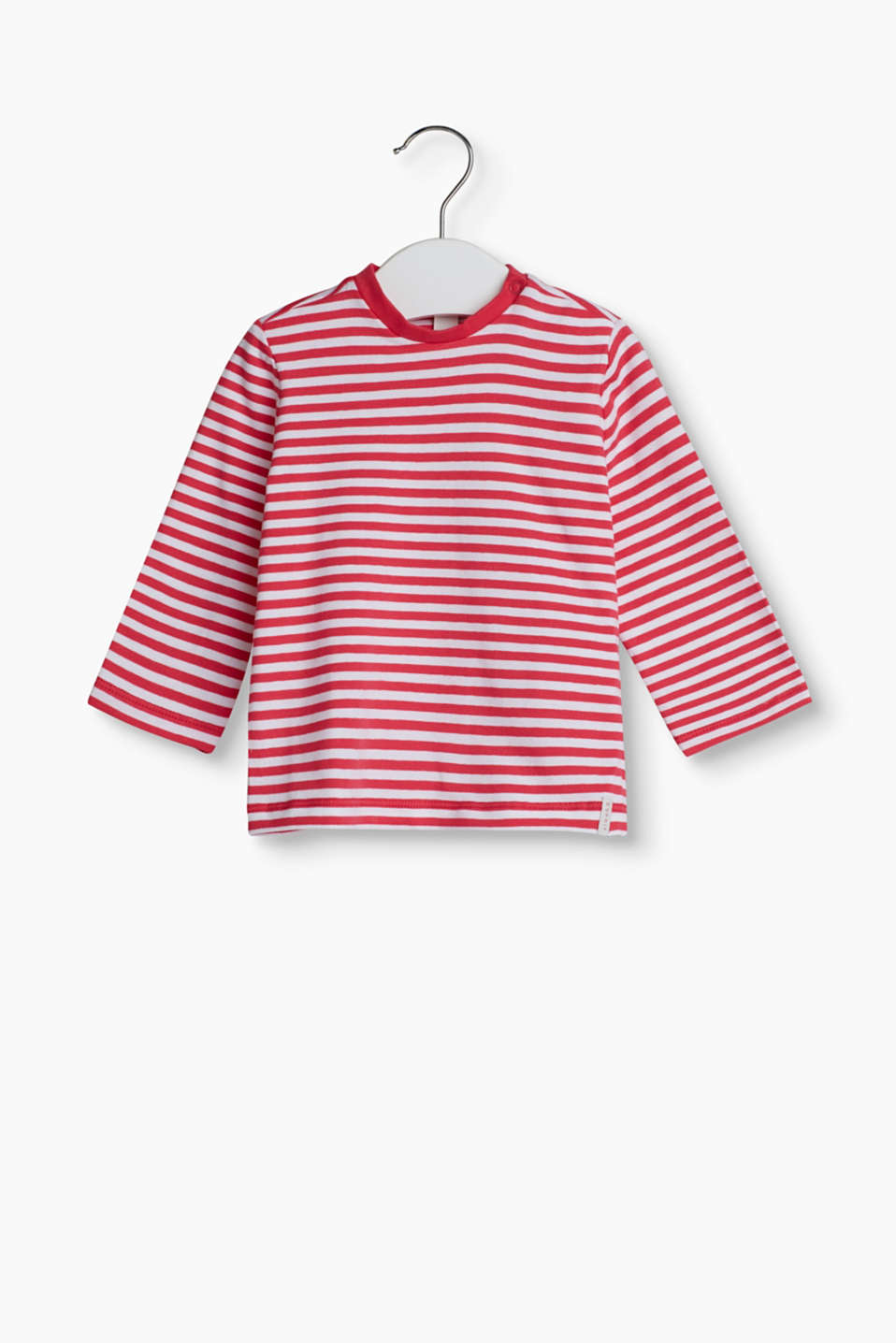 With a stripe pattern: long sleeve top made of soft cotton jersey with a percentage of elastane