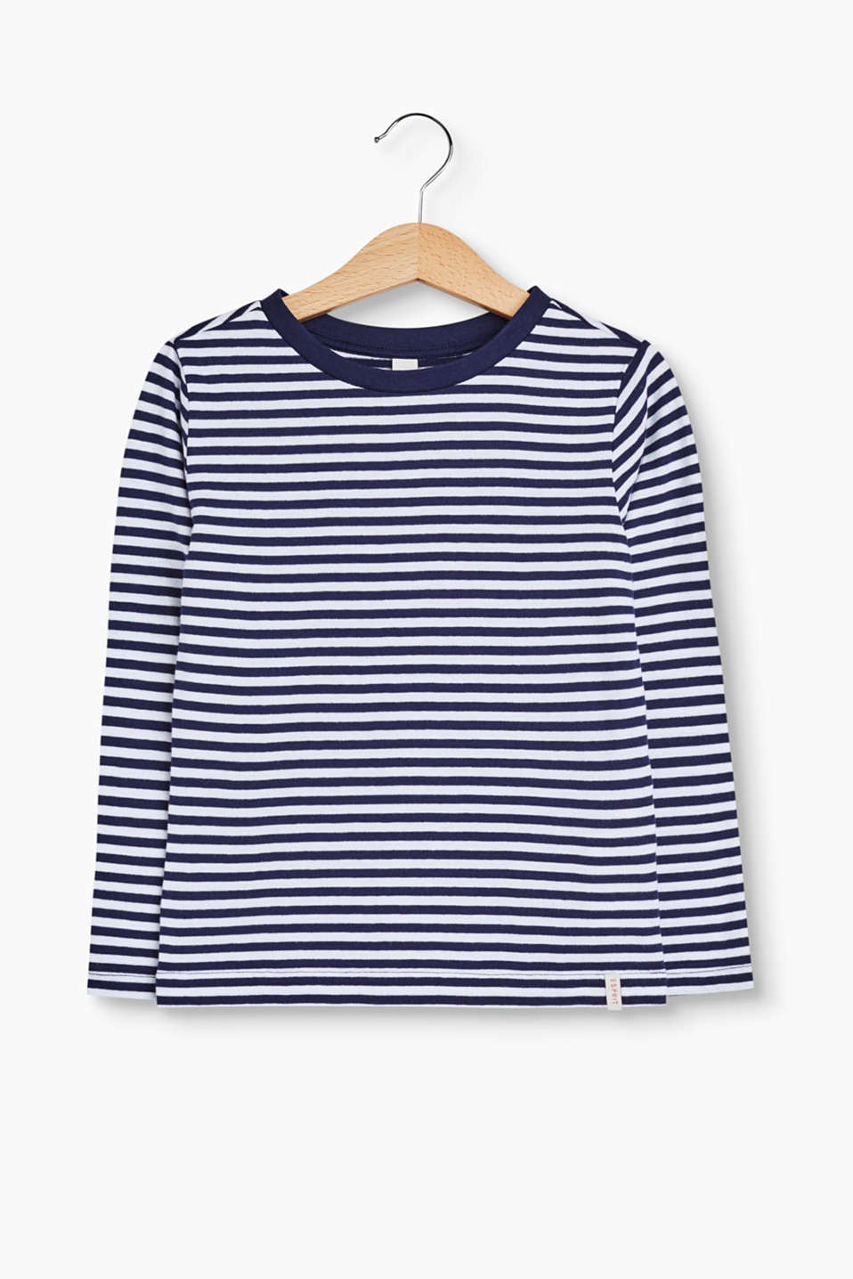 With a stripe pattern: long sleeve top made of soft cotton jersey